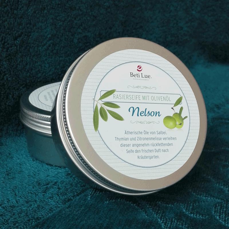Nelson Rasierseife  - männlich - klar strukturiert - und grün.